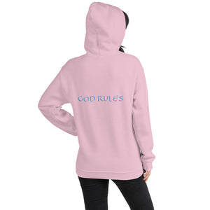 Women's Hoodie- GOD RULES - Light Pink / S