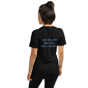 Women's T-Shirt Short-Sleeve- HIS BLOOD BREAKS THE CHAINS - Black / S