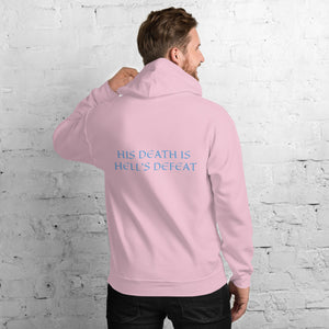 Men's Hoodie- HIS DEATH IS HELL'S DEFEAT - Light Pink / S