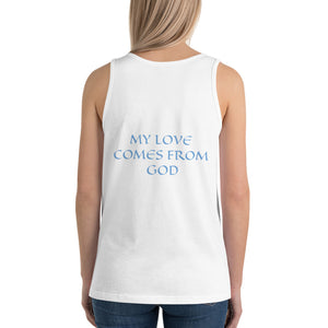 Women's Sleeveless T-Shirt- MY LOVE COMES FROM GOD - White / XS