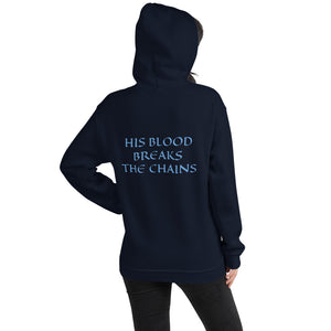 Women's Hoodie- HIS BLOOD BREAKS THE CHAINS - Navy / S