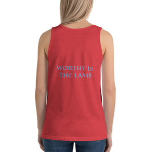 Women's Sleeveless T-Shirt- WORTHY IS THE LAMB - Red Triblend / XS