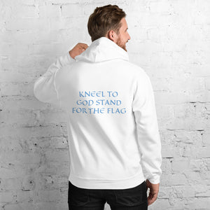 Men's Hoodie- KNEEL TO GOD STAND FOR THE FLAG - White / S