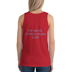 Women's Sleeveless T-Shirt- MY HOPE COMES FROM GOD - Red / XS