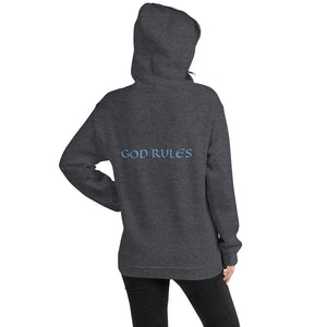 Women's Hoodie- GOD RULES - Dark Heather / S
