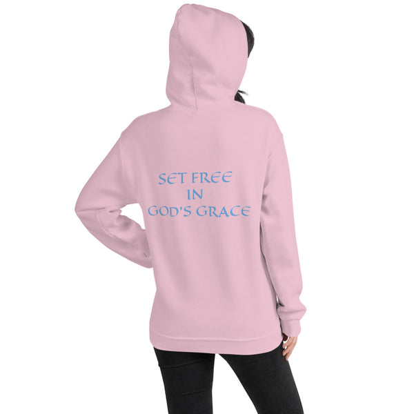 Women's Hoodie- SET FREE IN GOD'S GRACE - Light Pink / S