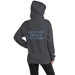 Women's Hoodie- HIS BLOOD BREAKS THE CHAINS - Dark Heather / S