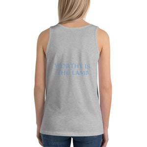 Women's Sleeveless T-Shirt- WORTHY IS THE LAMB - Athletic Heather / XS