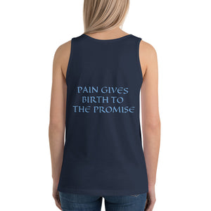 Women's Sleeveless T-Shirt- PAIN GIVES BIRTH TO THE PROMISE - Navy / XS