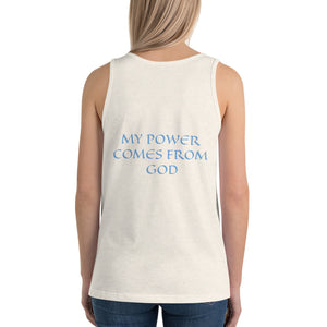 Women's Sleeveless T-Shirt- MY POWER COMES FROM GOD - Oatmeal Triblend / XS