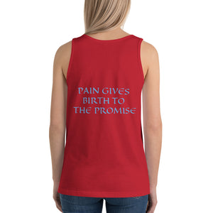 Women's Sleeveless T-Shirt- PAIN GIVES BIRTH TO THE PROMISE - Red / XS