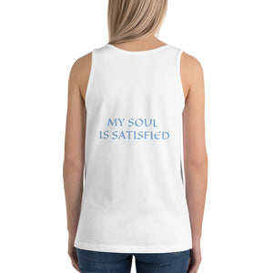 Women's Sleeveless T-Shirt- MY SOUL IS SATISFIED - White / XS