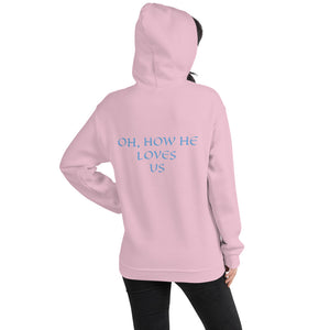 Women's Hoodie- OH, HOW HE LOVES US - Light Pink / S