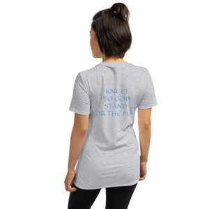 Women's T-Shirt Short-Sleeve- KNEEL TO GOD STAND FOR THE FLAG - Sport Grey / S