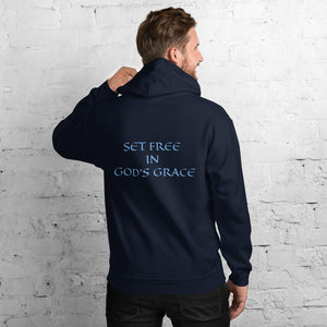 Men's Hoodie- SET FREE IN GOD'S GRACE - Navy / S