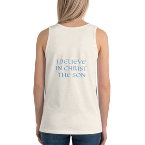 Women's Sleeveless T-Shirt- I BELIEVE IN CHRIST THE SON - Oatmeal Triblend / XS