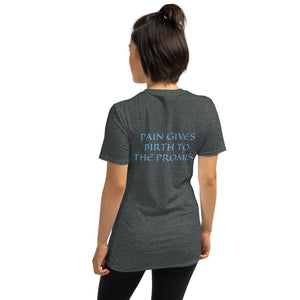 Women's T-Shirt Short-Sleeve- PAIN GIVES BIRTH TO THE PROMISE - Dark Heather / S