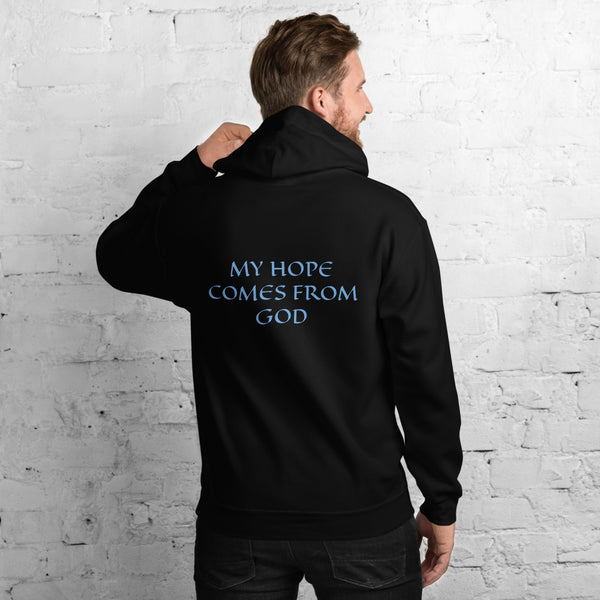 Men's Hoodie- MY HOPE COMES FROM GOD - Black / S