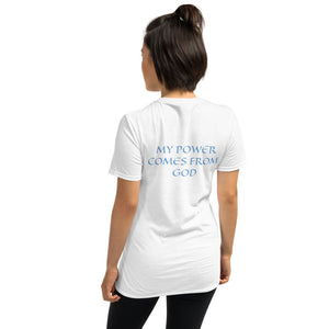 Women's T-Shirt Short-Sleeve- MY POWER COMES FROM GOD - White / S