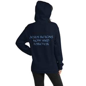 Women's Hoodie- JESUS REIGNS NOW AND FOREVER - Navy / S
