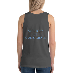 Women's Sleeveless T-Shirt- SET FREE IN GOD'S GRACE - Asphalt / XS