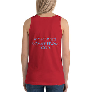 Women's Sleeveless T-Shirt- MY POWER COMES FROM GOD - Red / XS