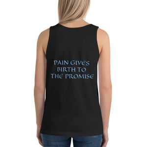 Women's Sleeveless T-Shirt- PAIN GIVES BIRTH TO THE PROMISE - Black / XS