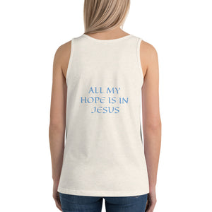 Women's Sleeveless T-Shirt- ALL MY HOPE IS IN JESUS - Oatmeal Triblend / XS