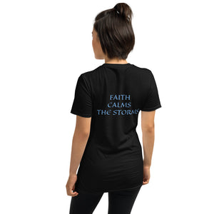 Women's T-Shirt Short-Sleeve- FAITH CALMS THE STORMS - Black / S