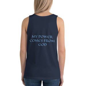 Women's Sleeveless T-Shirt- MY POWER COMES FROM GOD - Navy / XS
