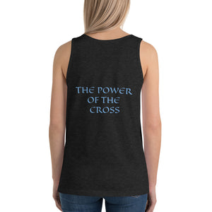 Women's Sleeveless T-Shirt- THE POWER OF THE CROSS - Charcoal-black Triblend / XS