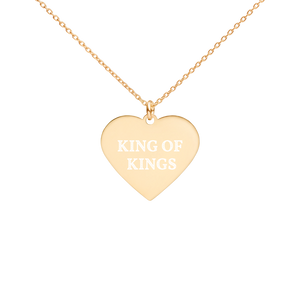 Engraved Heart Necklace- LOVE - 24K Gold coating / KING OF KINGS