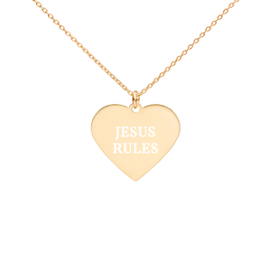 Engraved Heart Necklace- LOVE - 24K Gold coating / JESUS RULES