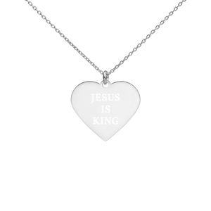 Engraved Heart Necklace- LOVE - White Rhodium coating / JESUS IS KING
