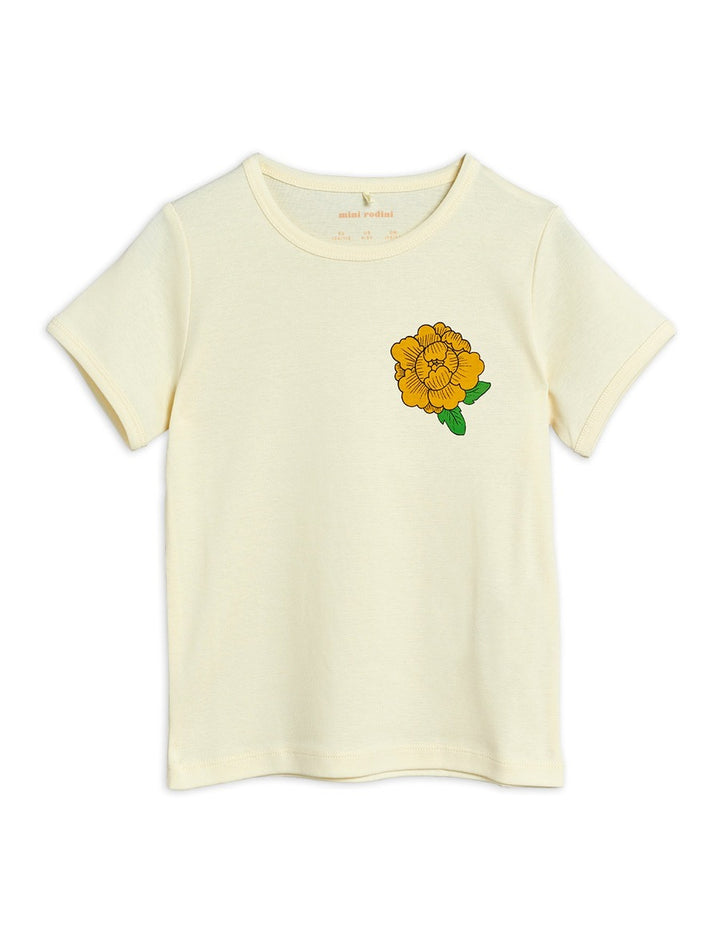Mini Rodini Short Sleeve Offwhite Tee with Peony