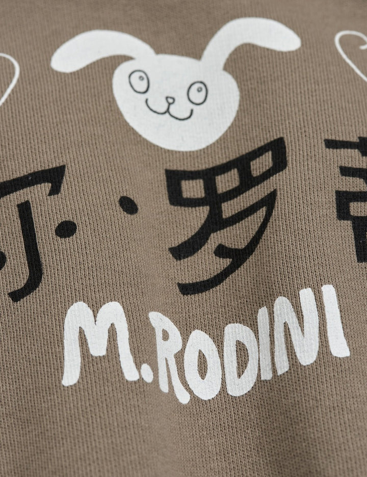 Mini Rodini SS21 Grey Rabbi Sweatshirt - closeup