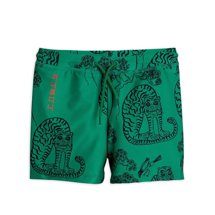 Mini Rodini Tiger Swim Shorts in Green