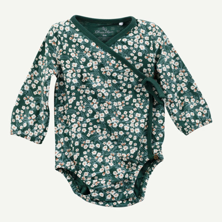 Oliver & Rain Organic Floral Bodysuit (pine green)