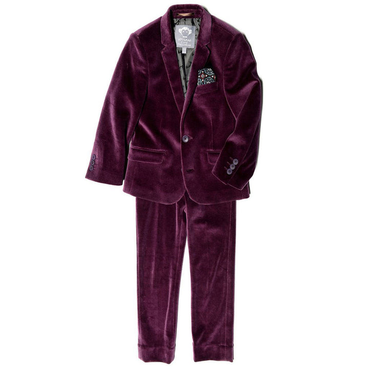 Youth Merlot Velvet Formal Pant Suit