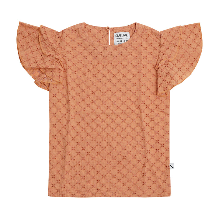 Peach Eyelet Cotton Summer Top with Ruffled Shoulder