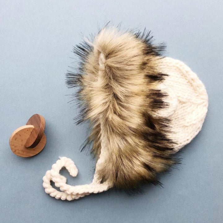 Cream Knit Lion Faux Fur Hat
