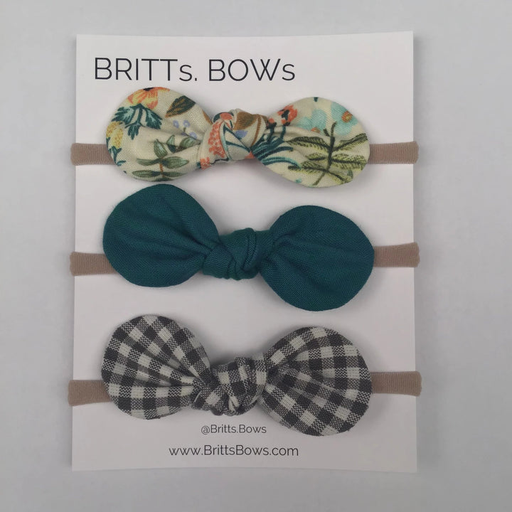 Britts Bows 3 Handmade Baby Bow Headbands (mint/teal/check)