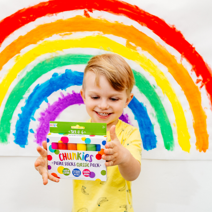 rainbow drawing and child