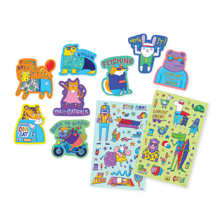 images of the stickers included and the two sticker sheets.