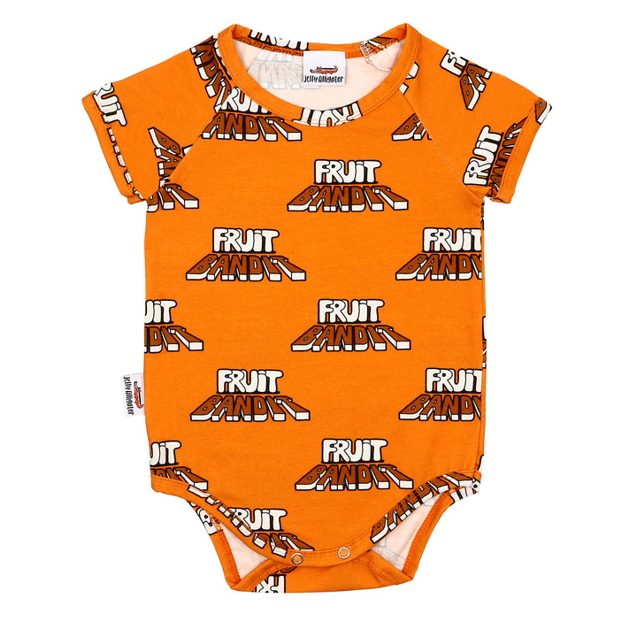 Cotton Short Sleeve Fruit Bandit Onesie in orange by Jelly Alligator
