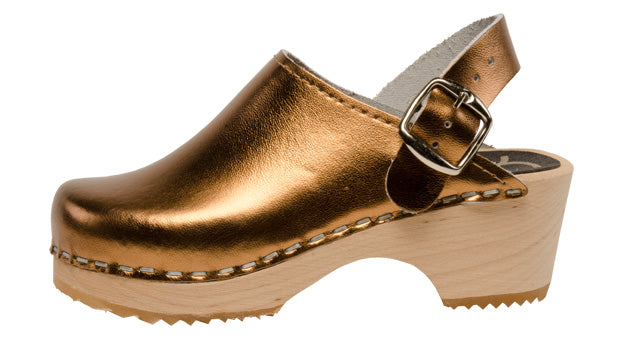 Cape Clogs Kids Wooden Clog (bronze metallic)