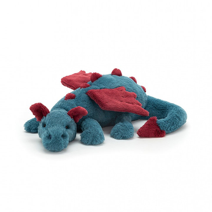 "Dexter Dragon, 20"". Chalk blue and dark maroon."