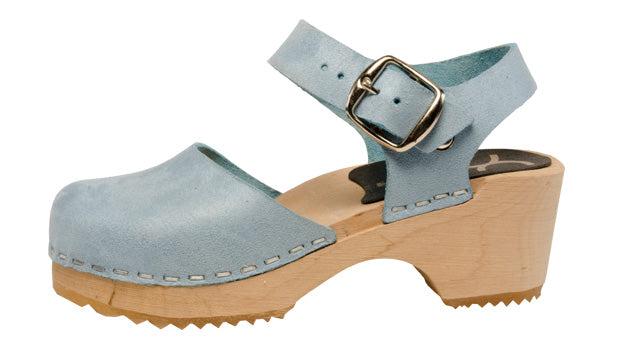 Swedish Wooden Clogs Lather Upper in