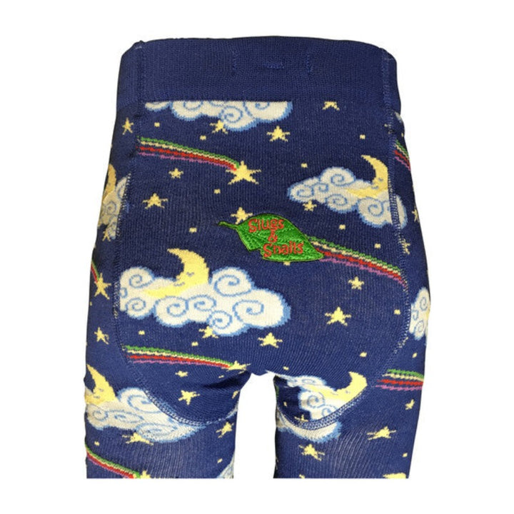 Dark Blue Kids Tights with Moon & Shooting Stars
