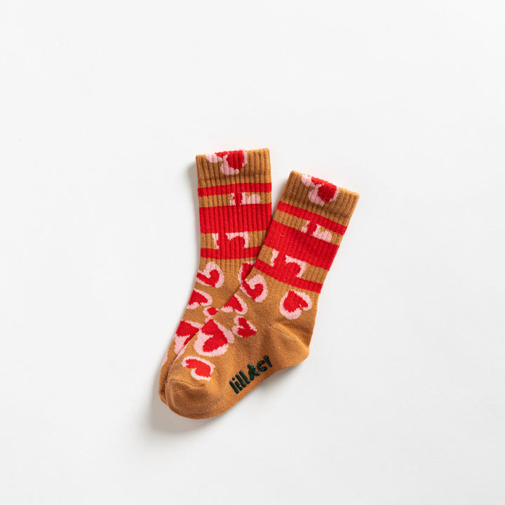 Red Leopard Heart Socks by Lillster